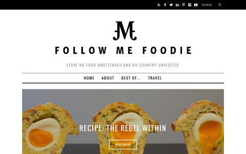 Screenshot of Home Page followmefoodie.com - Follow Me Foodie - captured Oct. 1, 2015