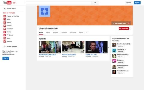 Screenshot of YouTube Page youtube.com - cinevizinteractive  - YouTube - captured Oct. 22, 2014