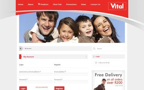 Screenshot of Login Page vital.co.za - My Account | Vital Health FoodsVital Health Foods - captured Oct. 1, 2014