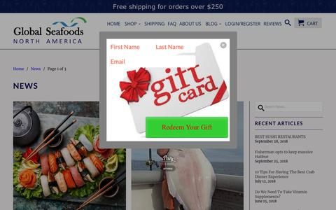 Screenshot of Press Page globalseafoods.com - Seafood News - Global Seafoods North America - captured Sept. 28, 2018