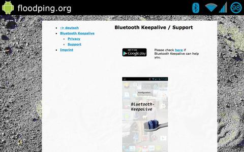 Screenshot of Support Page bluetooth-keepalive.com - Bluetooth Keepalive - Support Seite - captured Dec. 25, 2016