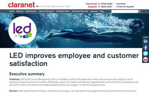 Screenshot of Case Studies Page claranet.com - LED improves employee and customer satisfaction | Claranet BR - captured Nov. 25, 2019