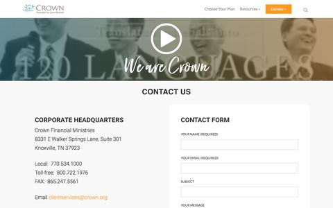 Screenshot of Contact Page crown.org - Contact Us – Crown - captured Sept. 16, 2017