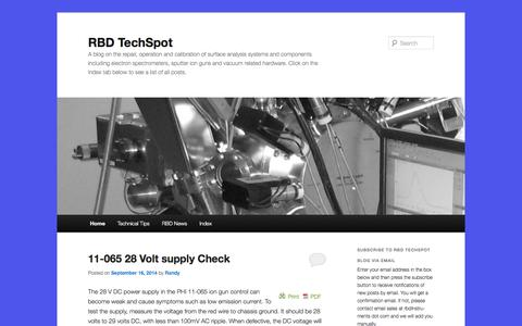 Screenshot of Blog rbdinstruments.com - RBD TechSpot | A blog on the repair, operation and calibration of surface analysis systems and components including electron spectrometers, sputter ion guns and vacuum related hardware.   Click on the Index tab below to see a list of all posts. - captured Sept. 24, 2014