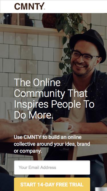 Screenshot of Landing Page  cmnty.com - The Online Community that inspires people to do more.