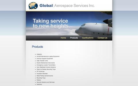 Screenshot of Products Page globalaerospace.net - Global Aerospace Services, Inc. » Products - captured Oct. 2, 2014