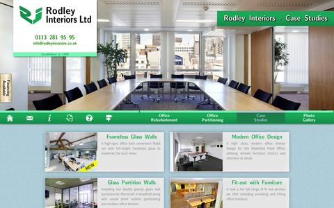 Screenshot of Case Studies Page rodleyinteriors.co.uk - Office Refurbishment and Fit-Out Case Studies - captured Oct. 26, 2014