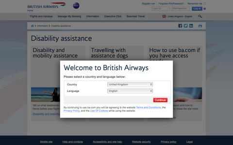 Disability assistance | Information | British Airways