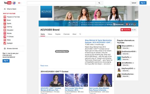 Screenshot of YouTube Page youtube.com - ACUVUE® Brand  - YouTube - captured Nov. 4, 2014
