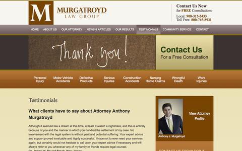 Screenshot of Testimonials Page murgatroydlaw.com - Testimonials | Murgatroyd Law Group | Flemington, New Jersey - captured Oct. 1, 2014