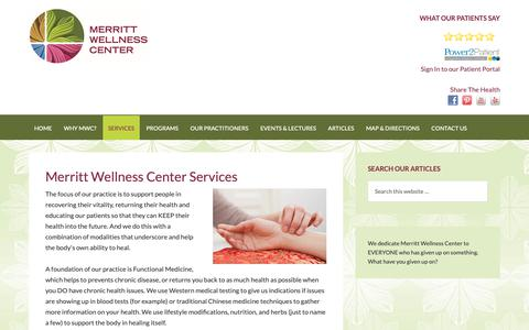 Screenshot of Services Page merrittwellness.com - Functional Medicine, Acupuncture, & Nutrition Testing - captured Dec. 20, 2018