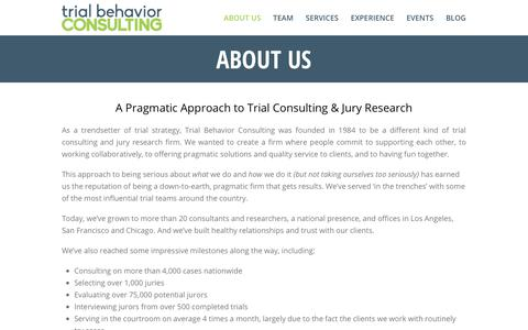 Screenshot of About Page trialbehavior.com - Company - Trial Behavior Consulting - captured Oct. 20, 2018