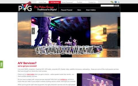Screenshot of Services Page provideogroup.com - Production Management : Video Production Services : Webcasting : Website Design & Marketing : Collateral Design - captured May 22, 2017