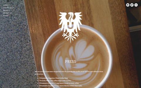 Screenshot of Press Page ultimocoffee.com - Press — Ultimo Coffee - captured April 8, 2016