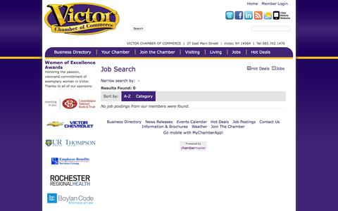 Screenshot of Jobs Page victorchamber.com - Job Search - Victor Chamber of Commerce - captured Feb. 28, 2016