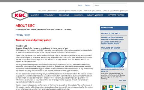 Screenshot of Privacy Page kbcat.com - Process Simulation Software and Pinch Technology - captured Oct. 6, 2014