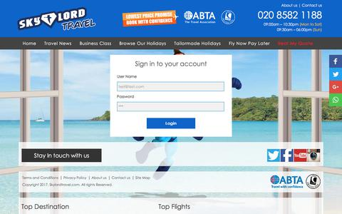 Screenshot of Login Page skylordtravel.com - Cheap Flights & Holidays Deals - Call 020 8582 1188 - Skylord Travel - captured Nov. 3, 2017