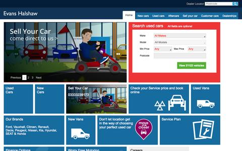 Screenshot of Home Page evanshalshaw.com - Evans Halshaw | New and Used Cars | Aftercare | Servicing - captured July 24, 2015