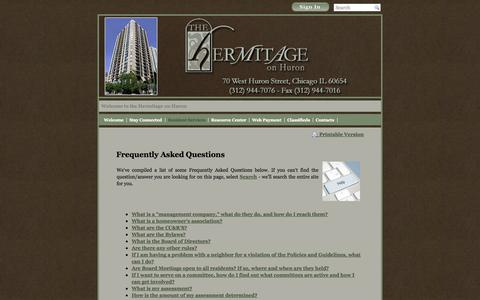 Screenshot of FAQ Page hermitageonhuron.com - Hermitage on Huron - Frequently Asked Questions - captured Oct. 3, 2014