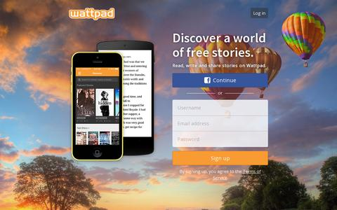 Screenshot of Home Page wattpad.com - Discover a World of Unlimited Stories - captured July 17, 2014
