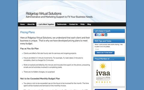 Screenshot of Pricing Page ridgetopvirtualsolutions.com - Pricing Plans | Ridgetop Virtual Solutions - captured Oct. 7, 2014