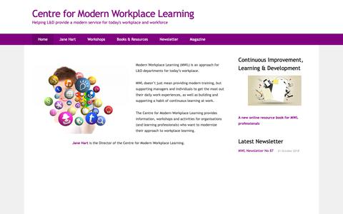 Screenshot of Home Page modernworkplacelearning.com - Centre for Modern Workplace Learning – Helping L&D provide a modern service for today's workplace and workforce - captured Oct. 25, 2018