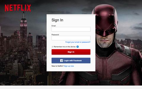 Screenshot of Login Page netflix.com - Netflix - Member Login | Sign In To Your Account - captured Dec. 19, 2015