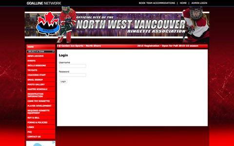 Screenshot of Login Page goalline.ca - North West Vancouver Ringette Association powered by GOALLINE.ca - captured June 13, 2016