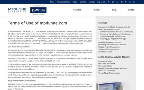 Screenshot of Privacy Page mpdunne.com - Terms of Use of mpdunne.com - captured Sept. 22, 2018