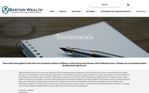 Screenshot of Testimonials Page bastionwealth.com.au - Testimonials - captured Nov. 6, 2018