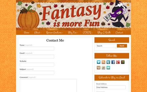 Screenshot of Contact Page fantasyismorefun.com - Contact Me - Fantasy is More FunFantasy is More Fun - captured Nov. 4, 2014