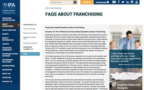 Screenshot of FAQ Page franchise.org - FAQs about Franchising   International Franchise Association - captured June 25, 2017