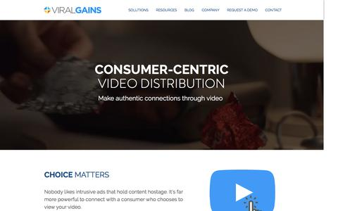 Screenshot of Home Page viralgains.com - ViralGains | Consumer-Centric Video Distribution - captured Jan. 12, 2017