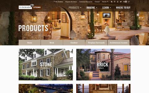 Screenshot of Products Page eldoradostone.com - Eldorado Stone - Stone Siding, Brick Veneer, Stone Fireplace Surrounds and Outdoor Living - captured Sept. 18, 2014