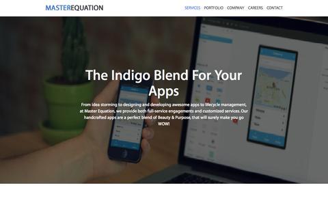 Screenshot of Services Page masterequation.com - Services - Android, iOS app design & development. - captured Dec. 4, 2015