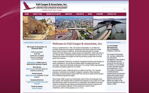 Screenshot of Home Page valicooper.com - Vali Cooper & Associates Inc. - Construction Management - captured Oct. 9, 2014