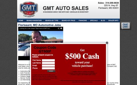 Screenshot of Jobs Page gmtautosales.com - GMT Auto Sales Employment   Florissant Used Car Dealer - captured Sept. 27, 2014