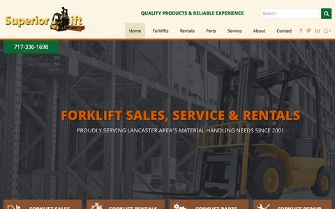 Screenshot of Home Page superiorlifttruck.com - Home - Superior Lift - captured Feb. 26, 2016