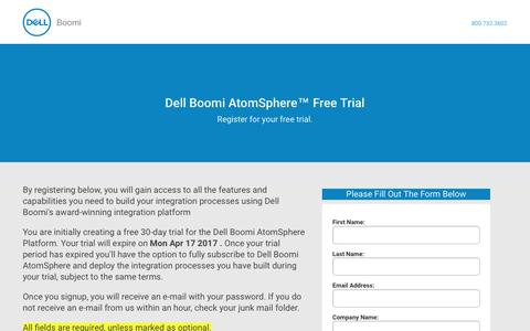 Screenshot of Trial Page Landing Page boomi.com - Dell Boomi AtomSphere Free Trial - captured March 18, 2017