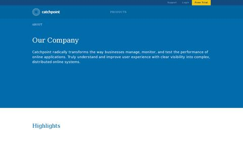 Screenshot of About Page catchpoint.com - About    Catchpoint Systems - captured July 19, 2014