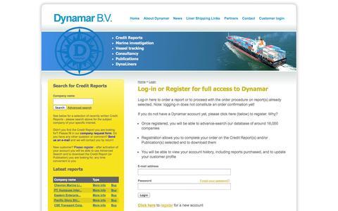 Screenshot of Login Page dynamar.com - Dynamar B.V. Maritime Reports - captured Sept. 30, 2014