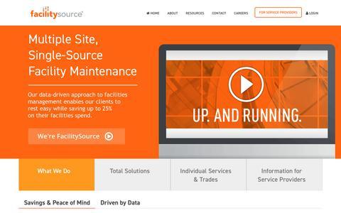 Screenshot of Home Page facilitysource.com - Multiple Site, Single-Source Facility Maintenance | FacilitySource - captured June 11, 2018