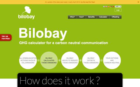 Screenshot of Home Page bilobay.com - bilobay is the first online GHG offset calculator for the communications industry - captured Sept. 30, 2014