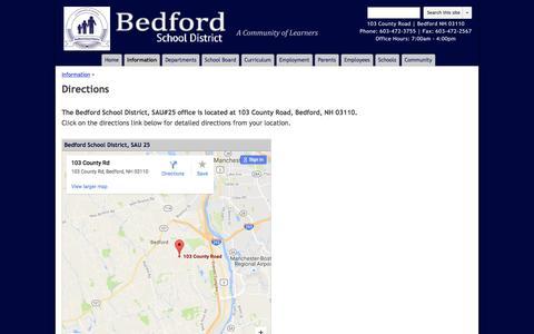 Screenshot of Maps & Directions Page google.com - Directions - Bedford School District - captured Nov. 22, 2016