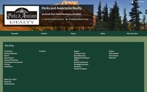Screenshot of Site Map Page parksandassociatesrealty.com - Site Map - captured Oct. 1, 2014