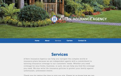 Screenshot of Services Page ahernagency.com - Ahern Agency | Services - captured Oct. 4, 2018
