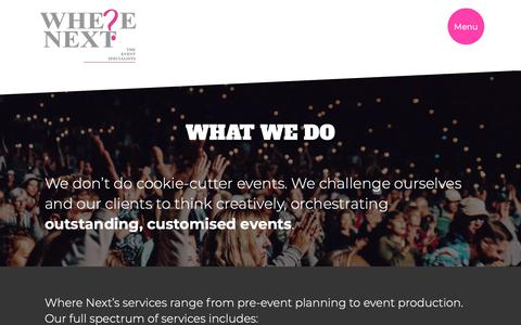 Screenshot of Services Page wherenext.co.za - Event Company   Audio Visual Companies   Event Decor   Corporate Gifts   Where Next - captured Oct. 18, 2018