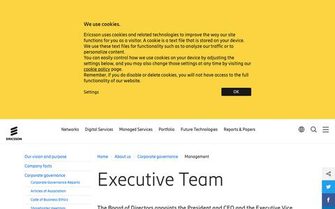 Screenshot of Team Page ericsson.com - Ericsson Management - captured May 10, 2019