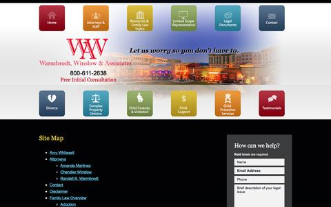 Screenshot of Site Map Page wrattorney.net - Site Map | Warmbrodt, Winslow & Associates | Allen - captured Feb. 16, 2016