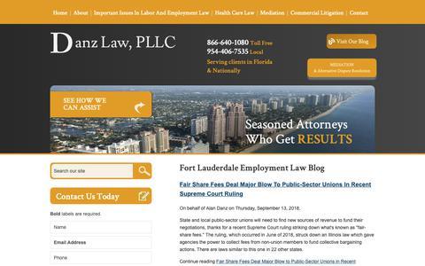 Screenshot of Blog danzlaw.net - Fort Lauderdale Employment Law Blog | Danz & Kronengold, P.L. - captured Oct. 7, 2018